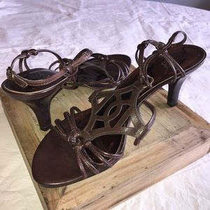 Brown sandals, leather upper. Size 10M, 3 inches